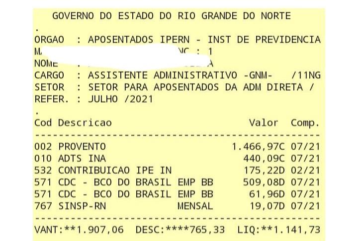 60f04a858e320 Sindicato acusa Governo do RN de desconto ilegal; servidora teve R$ 582 retirados